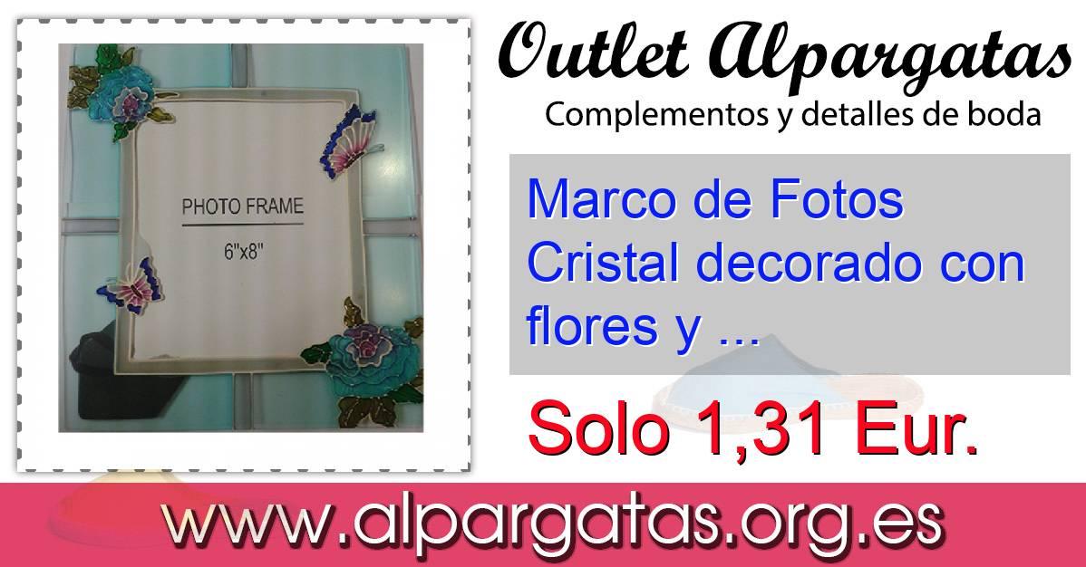 Marco de Fotos Cristal decorado con flores y mariposas 15x20 ...