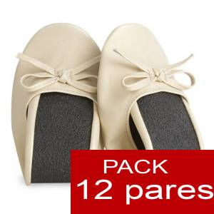 Enrollables - Manoletinas Bailarinas plegables / enrollables BEIGE - Lote de 12 pares