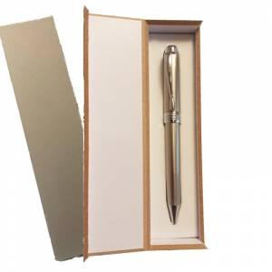 Prácticos mujer - Bolígrafo plateado Mod. 1 en caja de madera gris (Últimas Unidades)
