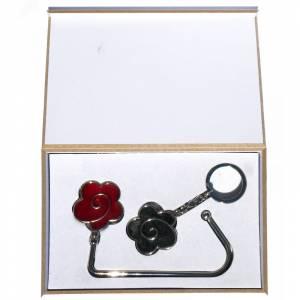 Prácticos mujer - Cuelgabolsos Flor Roja más llavero Flor Negra (Últimas Unidades)