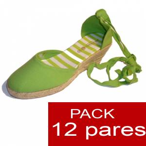 Tac�n Mujer - Valenciana tac�n Cerrada Verde Pistacho suela rayas - caja de 12 pares Y104650 (�ltimas Unidades)